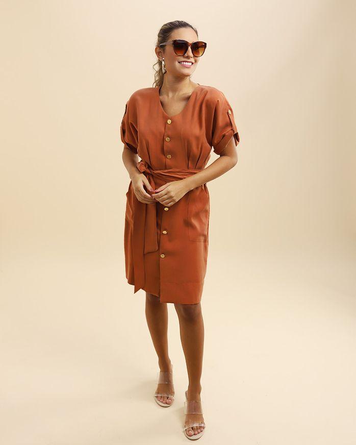 Vestido-Tecido-Frente-com-Pregas-e-Faixa-Telha