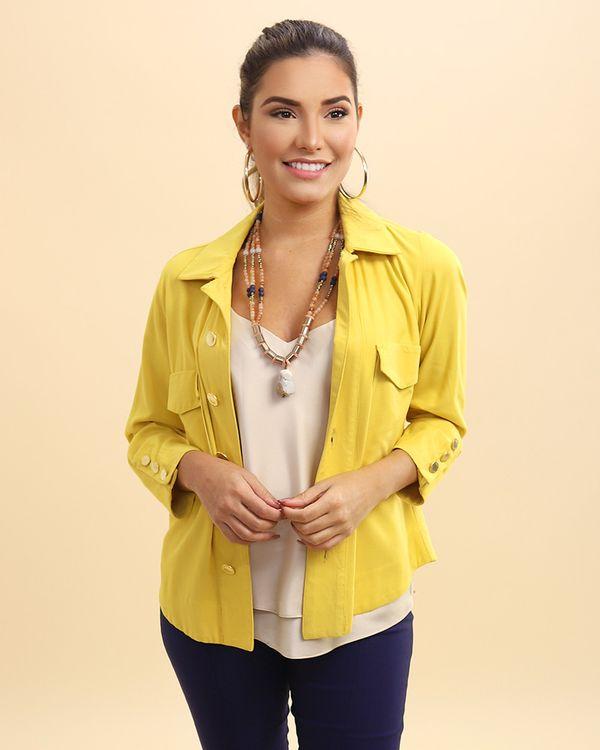 Casaqueto-Utilitario-Tecido-Frente-com-Bolsos-e-Botoes-Amarelo-