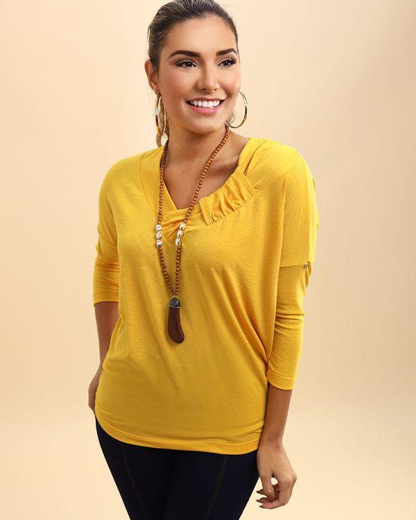 Blusa-Bolha-Malha-Decote-com-Detalhe-Franzido-Amarelo