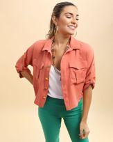 Camisa-Cropped-Utilitaria-Tecido-Frente-com-Bolsos-Laranja-Papaya