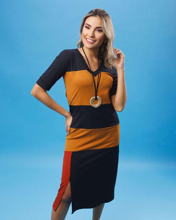 Vestido-Midi-Malha-Canelada-Collor-Block-Preto-