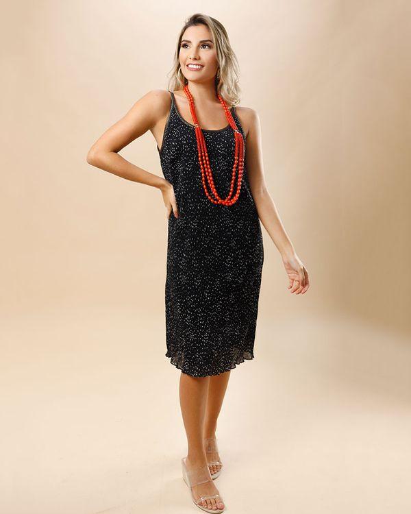 Vestido-Tecido-Plissado-Alcas-Lurex-Preto