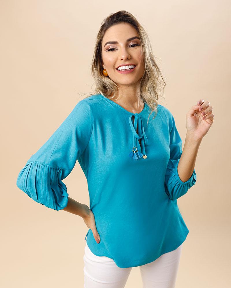 Blusa Tecido Mangas Com Franzidos Decote Ponteiras Com Tassel Azul Turquesa