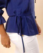 Blusa-Tecido-Manga-Longa-Cintura-com-Amarracao-Azul
