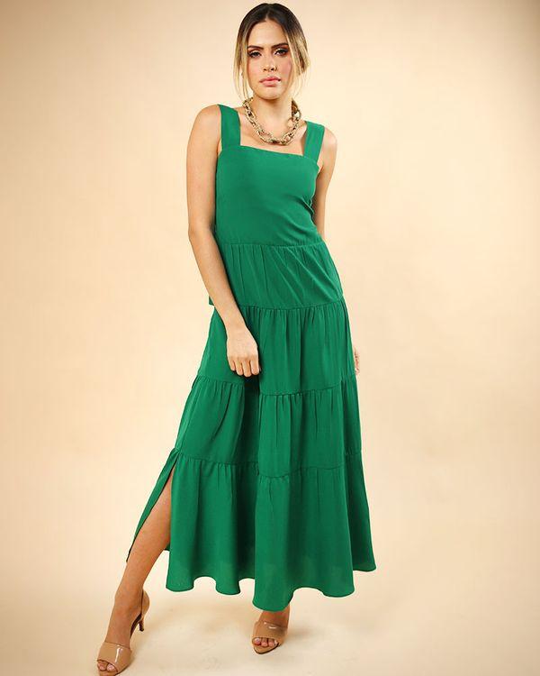Vestido-Longo-Tecido-com-Franzidos-Costas-Lastex-e-Alcas-com-Regulagem-Verde-Pistache