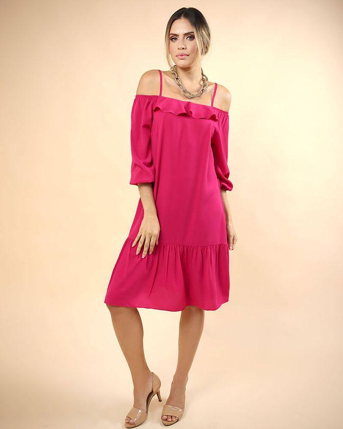 Vestido-Tecido-Ombro-Vazado-Decote-com-Babados-Pink
