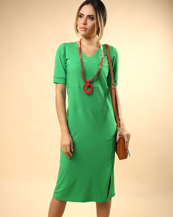 Vestido-Midi-Malha-Canelado-Frente-com-Fenda-Verde-Pistache-