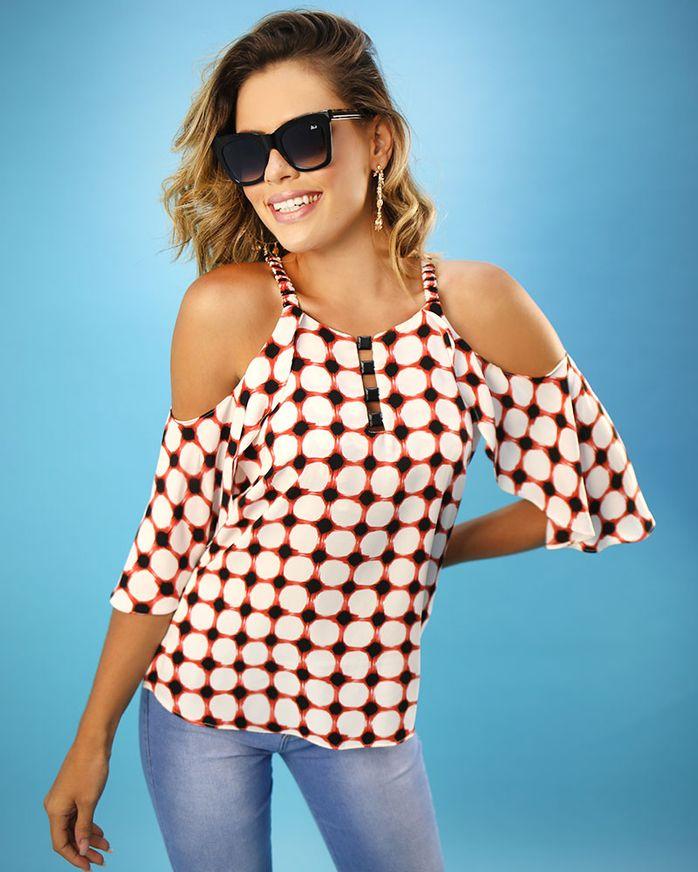 Blusa-Tecido-Estampado-Ombro-Vazado-Decote-com-Pedras-Vermelho
