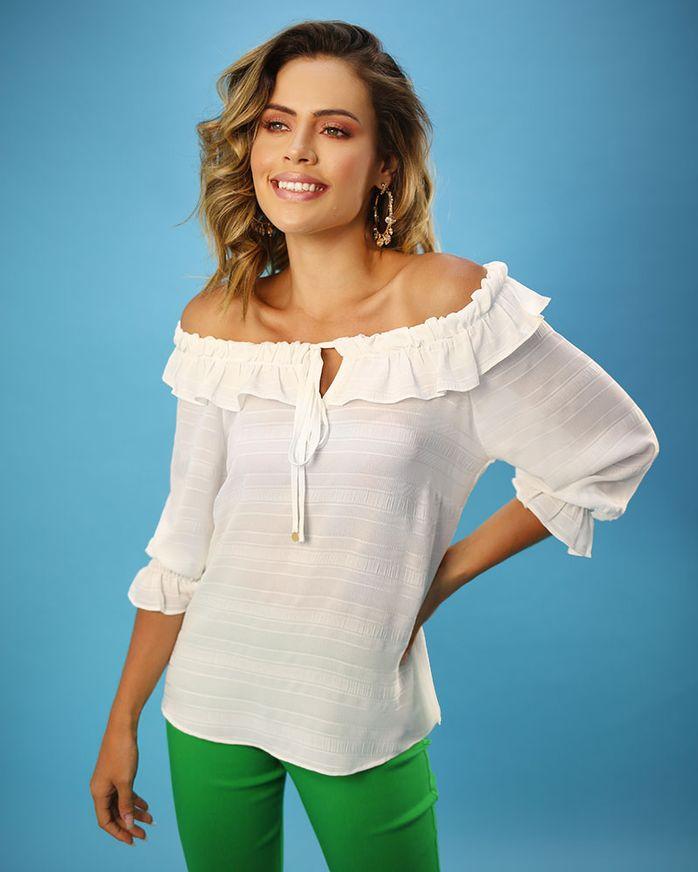 Blusa-Tecido-Texturizado-Decote-Ombro-a-Ombro-com-Babados-Off-Limoncello