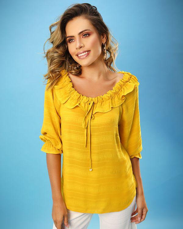 Blusa-Tecido-Texturizado-Decote-Ombro-a-Ombro-com-Babados-Amarelo-Vida
