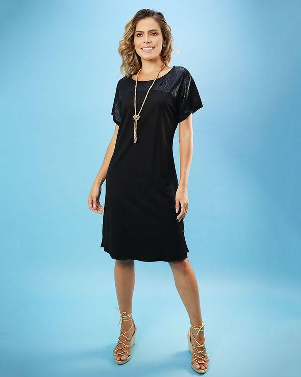Vestido-Malha-com-Pala-Texturizado-Preto