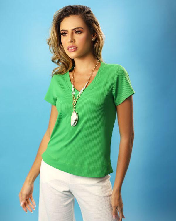 Blusa-Confort-Malha-Canelada-Decote-V-Verde-Pistache