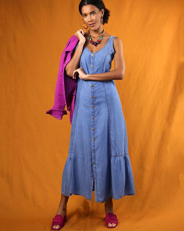 Chemise-Longo-Jeans-Frente-com-Botoes-e-Fendas-Azul