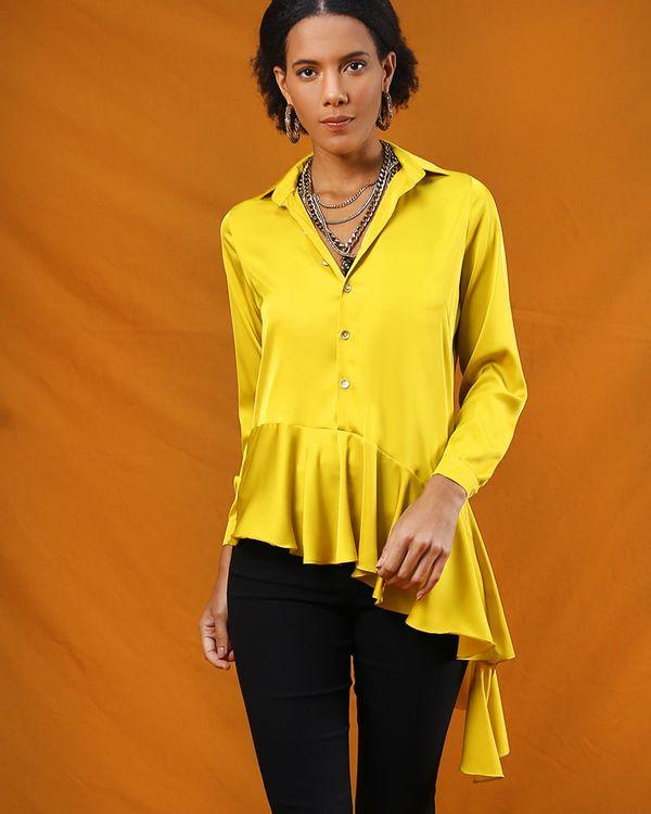Camisa-Tecido-Acetinado-Barra-com-Babado-Assimetrico-Amarelo