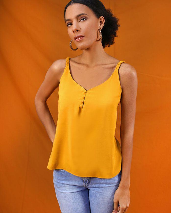 Blusa-Tecido-Decote-Botoes-Alcas-com-Elastico-Amarelo-