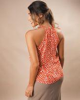 Blusa Super Cava Tecido Estampado Decote com Torçal Laranja