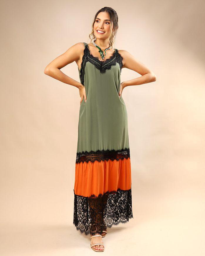 Vestido-Longo-Tecido-Mix-de-Cores-com-Renda-Selvagem