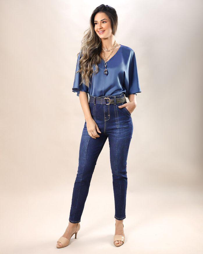 Calca-Skinny-com-Cinto-Pespontado-Azul