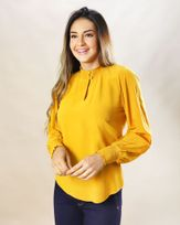 Blusa-Tecido-Gola-e-Punho-Lastex-Amarelo