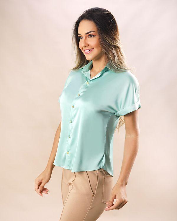 Camisa-Tecido-Acetinado-Botoes-de-Metal-Menta