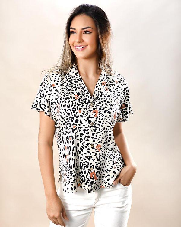 Camisa-Tecido-Estampado-Manga-Curta-Off-White