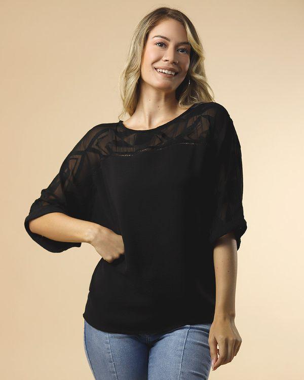 Blusa-Bolha-Tecido-Ombro-com-Transparencia-Bordada-Preto