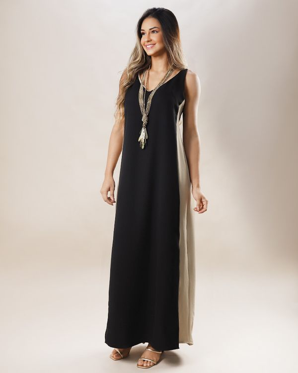 Vestido-Longo-Tecido-Lateral-Bicolor-Preto