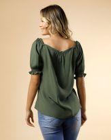 Blusa-de-Linho-Decote-com-Botoes-Cobertos-Verde