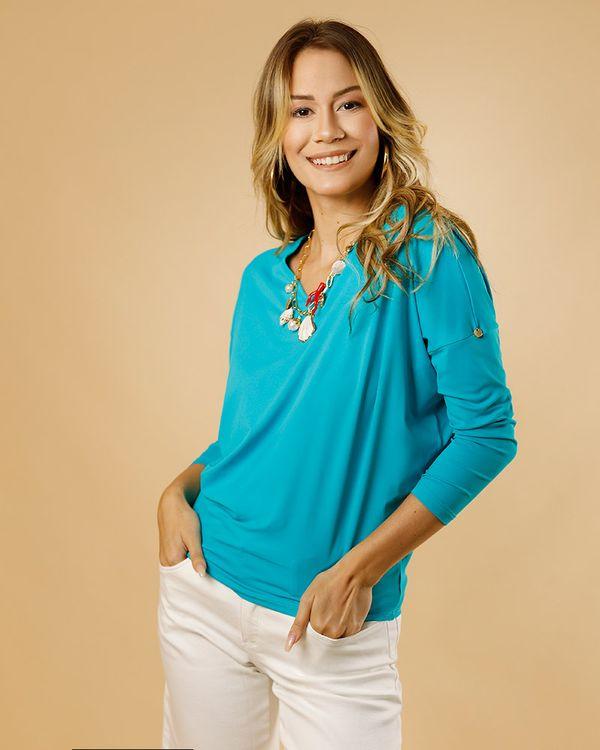 Blusa-Bolha-Malha-Soft-Decote-V-Azul-Piscina