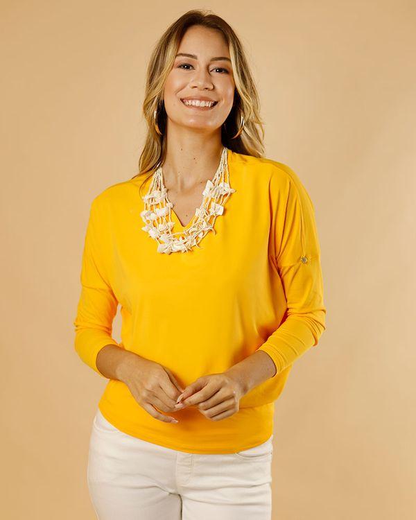 Blusa-Bolha-Malha-Soft-Decote-V-Amarelo-Solar