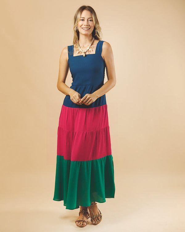 -Vestido-Longo-Tecido-Mix-de-Cores-Azul