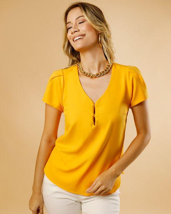 Blusa-Tecido-Decote-Botoes-Cobertos-Amarelo-Solar