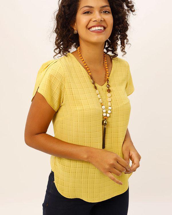 Blusa-Tecido-Texturizado-Mangas-com-Pregas-Amarelo