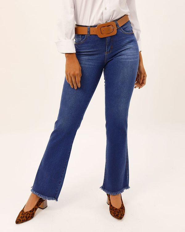 Calca-Boot-Cut-Jeans-Bainha-Desfiada-Azul
