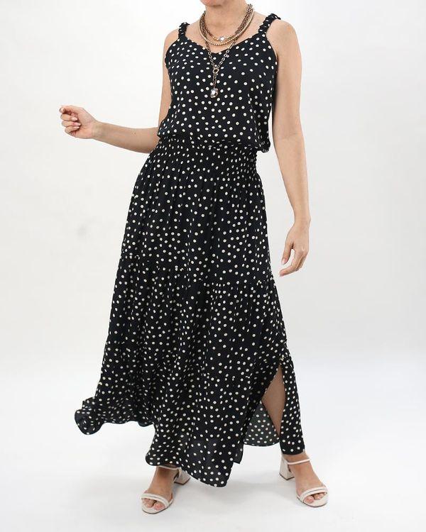 Vestido-Longo-Crepe-Estampa-Poas-Preto