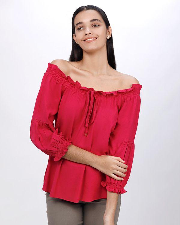 Blusa-Tecido-Decote-Ombro-a-Ombro-de-Lastex-Magenta
