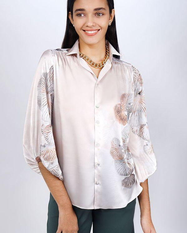 Camisa-Tecido-Acetinado-Estampa-Cogumelos-Gengibre-
