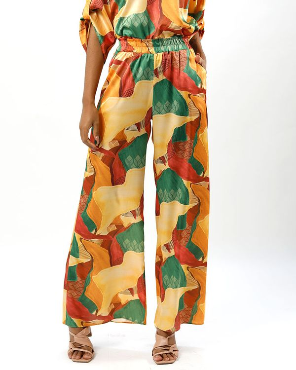 Calca-Pantalona-Tecido-Acetinado-Estampa-Relevos-Verde