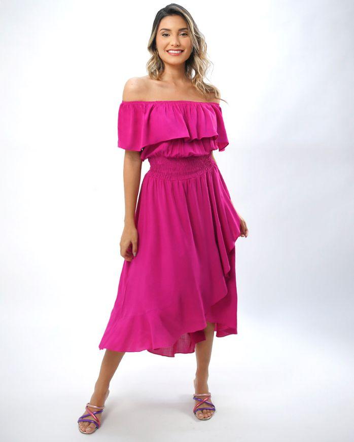 Vestido-Midi-Tecido-Frente-Transpassada-Magenta
