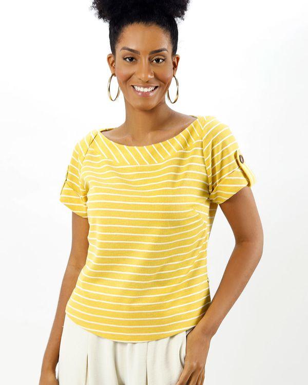 Blusa-Malha-Listras-Decote-Transpassado-Amarelo