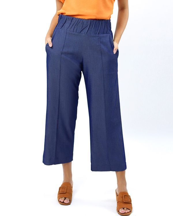 Calca-Pantacourt-Jeans-Leve-Cos-Franzido-Azul-