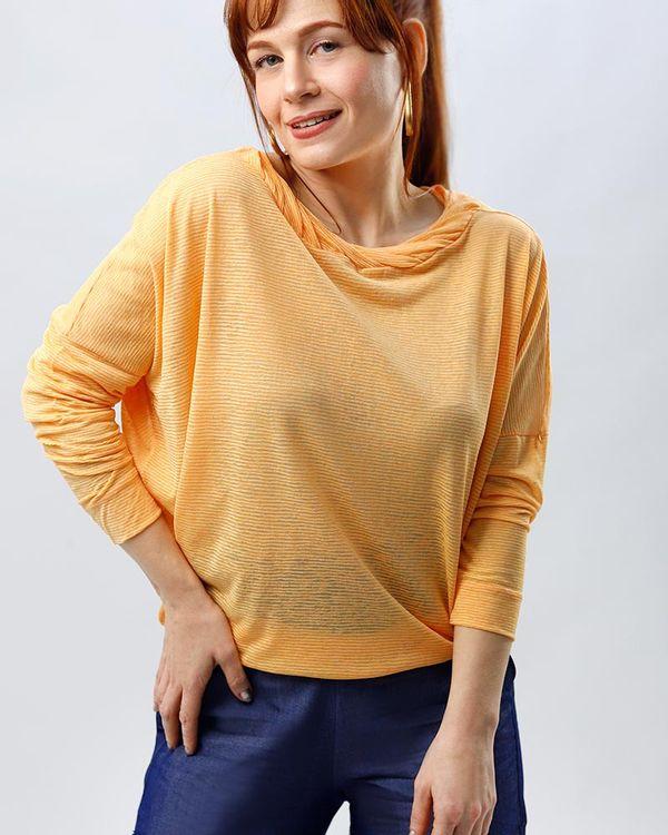 Blusa-Bolha-Malha-Texturizada-Decote-Torcido-Tangerina
