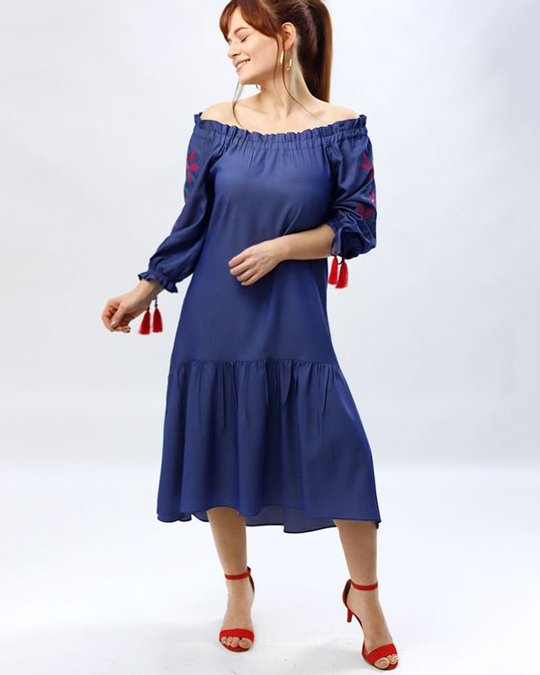 Vestido-Midi-Jeans-Mangas-Bordado-Floral-Azul