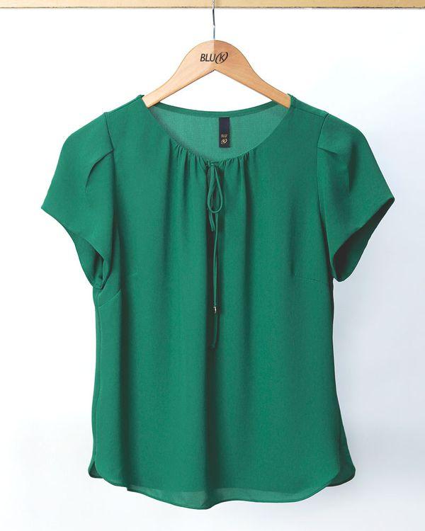 Blusa-Tecido-Texturizado-Decote-Franzido-Verde-Luz-