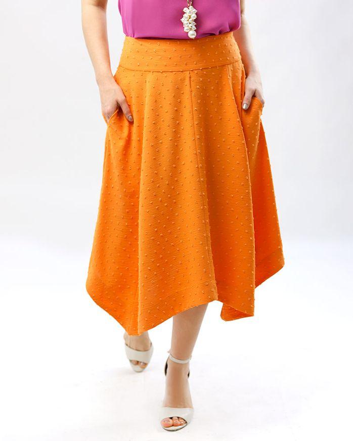 Saia-Midi-Tecido-Textura-Poas-com-Pontas-Tangerina