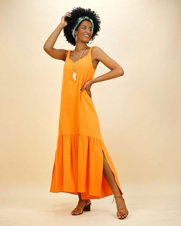 Vestido-Longo-Tecido-Textura-Poas-Alca-Trancada-Tangerina--
