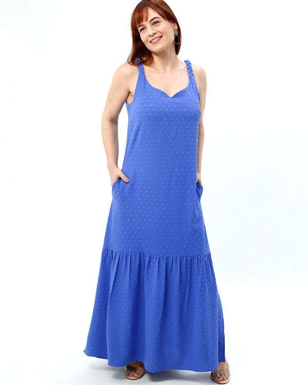 Vestido-Longo-Tecido-Textura-Poas-Alca-Trancada-Azul-Sublime
