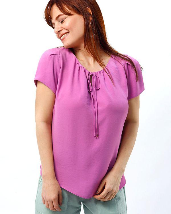 Blusa-Tecido-Texturizado-Decote-Franzido-Rosa