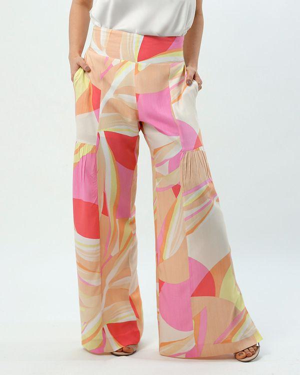 Calca-Pantalona-Tecido-Estampado-Detalhe-Franzido-Estampado