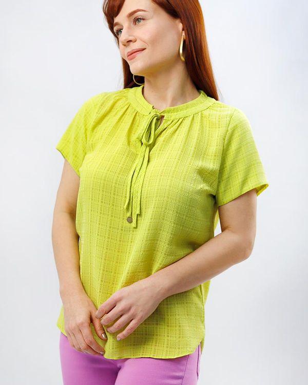 Blusa-Tecido-Texturizado-Decote-Dupla-Amarracao-Amarelo-